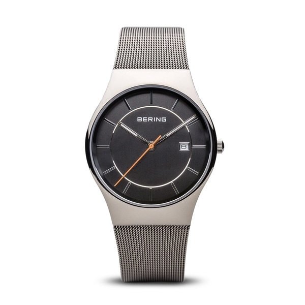 BERING Classic Slim Watch With Sapphire Crystal & Grey Stainless Steel Strap