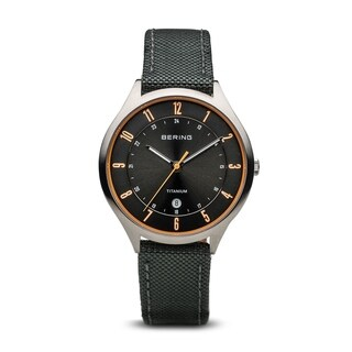 BERING Titanium Slim Watch With Sapphire Crystal & Grey Nato Strap