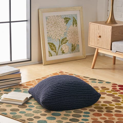 Cary Knitted Cotton Floor Cushion by Christopher Knight Home