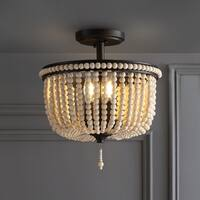 """Allie 14"""" Wood Beaded/Metal LED Flush Mount, Black / Light Taupe by JONATHAN  Y"""