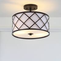 "Elizabeth 13.25"" Metal LED Flush Mount, Oil Rubbed Bronze/White by JONATHAN  Y"