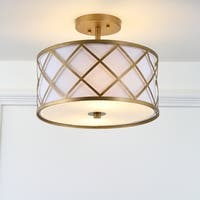 "Elizabeth 13.25"" Metal LED Flush Mount, Gold/White by JONATHAN  Y"