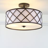 "Elizabeth 16.75"" Metal LED Flush Mount, Oil Rubbed Bronze/White by JONATHAN  Y"