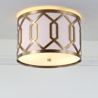 "Hex 2-Light 12.5"" Metal LED Flush Mount, Brass Gold by JONATHAN  Y"