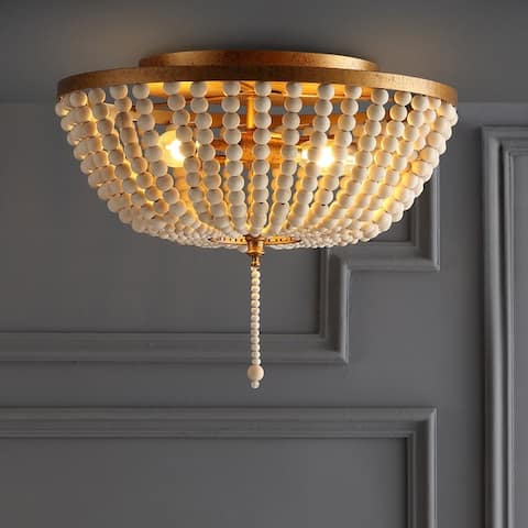 Allison 15-inch Wood Beaded LED Cream and Gold Flush Mount by JONATHAN Y