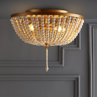 "Allison 15"" Wood Beaded/Metal LED Flush Mount, Antique Gold / Cream by JONATHAN Y"