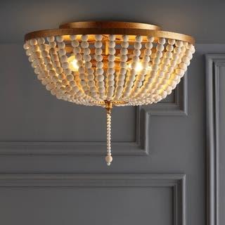 "Allison 15"" Wood Beaded/Metal LED Flush Mount, Antique Gold / Cream by JONATHAN Y"