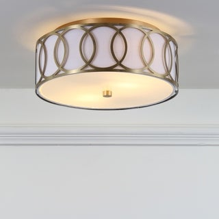 """Aria 2-Light 12.25"""" Metal LED Flush Mount, Brass Gold by JONATHAN Y"""