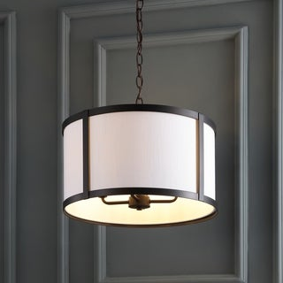 """Thatcher 17"""" Metal LED Pendant Light, Oil Rubbed Bronze/White by JONATHAN Y"""