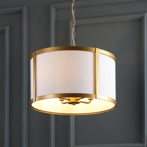 "Thatcher 17"" Metal LED Pendant Light, Gold/White by JONATHAN Y"