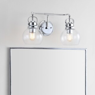 """Shirley 17.5"""" 2-light Metal/ Bubbled Glass Vanity Light, Chrome by JONATHAN Y"""