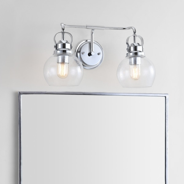 "Shirley 17.5"" 2-light Metal/ Bubbled Glass Vanity Light, Chrome by JONATHAN Y"