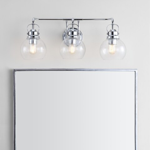 """Shirley 24"""" 3-light Metal/ Bubbled Glass Vanity Light, Chrome by JONATHAN Y"""