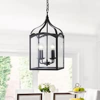 "Ruth 11"" 4-light Lantern Metal/Glass LED Pendant, Oil Rubbed Bronze by JONATHAN  Y"