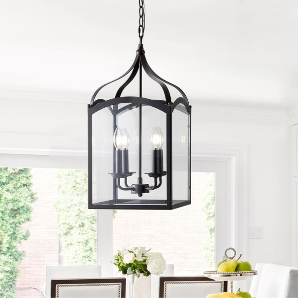"""Ruth 11"""" 4-light Lantern Metal/Glass LED Pendant, Oil Rubbed Bronze by JONATHAN Y"""