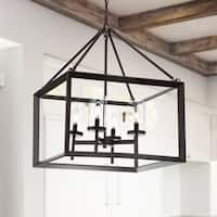 "Anna 21"" 4-light Metal/Glass LED Pendant, Oil Rubbed Bronze by JONATHAN  Y"