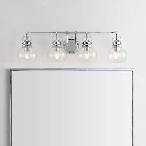 "Shirley 34"" 4-light Metal/ Bubbled Glass Vanity Light, Chrome by JONATHAN Y"