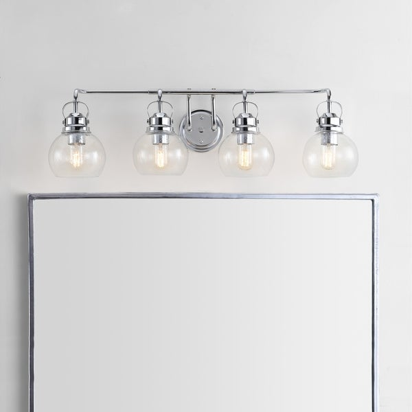 """Shirley 34"""" 4-light Metal/ Bubbled Glass Vanity Light, Chrome by JONATHAN Y"""