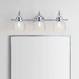 "Virginia 25.25"" 3-light Metal/Glass LED Vanity Light, Chrome by JONATHAN Y"