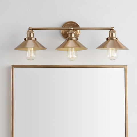 "August 26.5"" 3-light Metal Vanity Light, Brass Gold by JONATHAN Y"