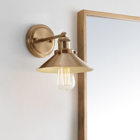 "August 7.75"" Metal Shade Sconce, Brass Gold by JONATHAN Y"