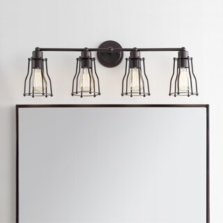 """Florence 29.5"""" 4-light Metal Vanity Light, Oil Rubbed Bronze by JONATHAN Y"""