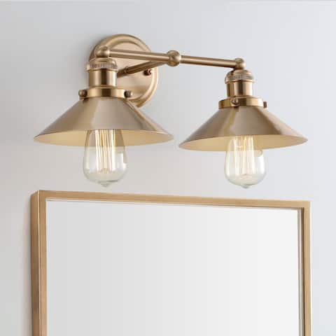 "August 17.5"" 2-light Metal Vanity Light, Brass Gold by JONATHAN Y"