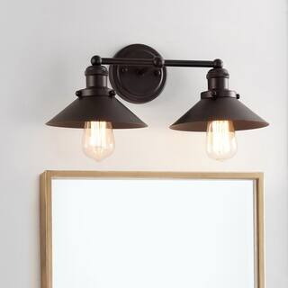 Buy hallway wall lights online at overstock our best lighting july 175 2 light metal vanity light oil rubbed bronze by jonathan y aloadofball Image collections