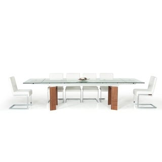 Modrest Bijou Contemporary Extendable Walnut & Glass Dining Table