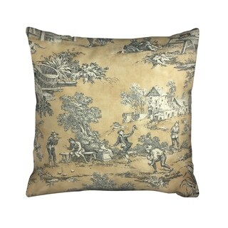 IC Linen Company by Kathy Fielder Golden Fiddler Toile 16 Inch Throw Pillow