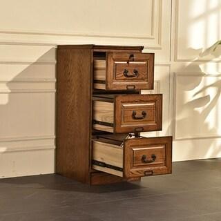 Ward Three Drawer File Cabinet Burnished Walnut