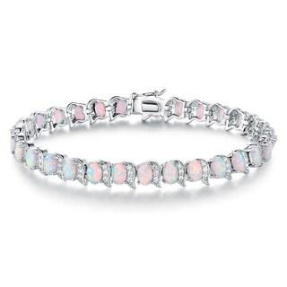 Rhodium Plated Lab Created Fire Opal Bracelet