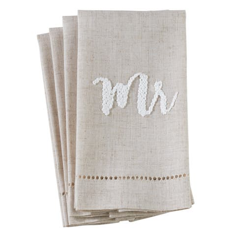 "Poly Blend ""Mr"" Hemstitch Guest Towels (Set of 4)"