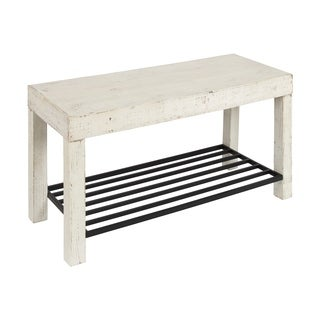 Kate and Laurel Jeran White Wood Farmhouse Entryway Bench with Iron Shoe Shelf