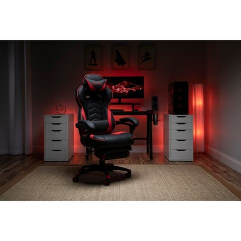 Respawn 110 Bonded Leather Racing Style Reclining Gaming Chair with Footrest