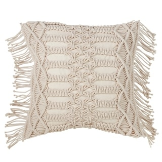 100% Cotton Throw Pillow With Macramé Design And Down Filling