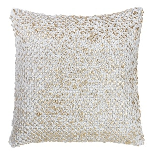 Foil Printed Knotted Nubby Down Filled Cotton Throw Pillow