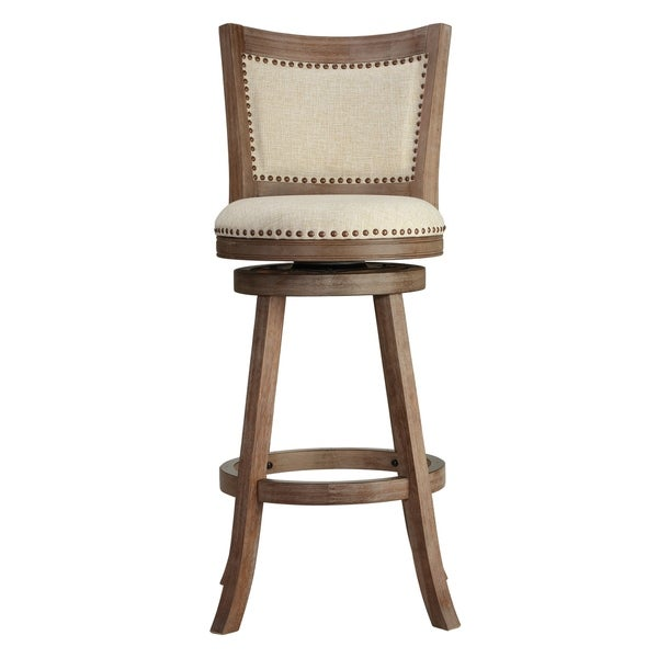 Cortesi Home Marko Bar Stool Beige Fabric Swivel Seat With Padded Back 29