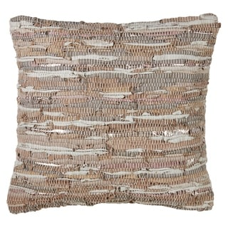 Chindi Woven Leather Down Filled Throw Pillow
