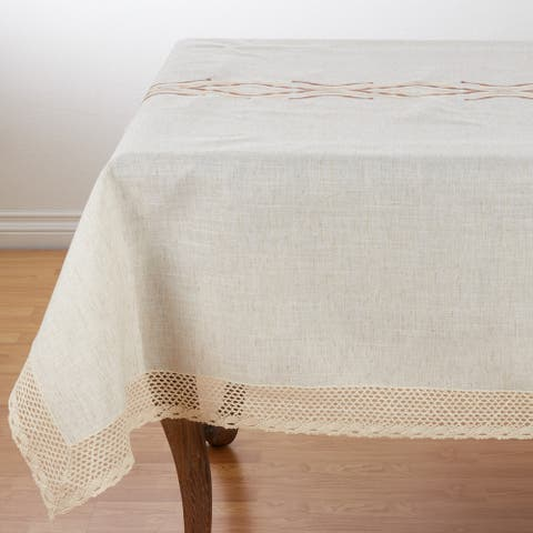 Lace Border Abstract Design Poly Blend Tablecloth