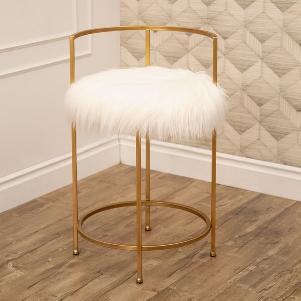 Shop Abbyson Louisa Gold Faux Fur 30 In Counter Stool On Sale