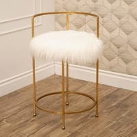 Silver Orchid Banks Faux Fur 30-inch Counter Stool