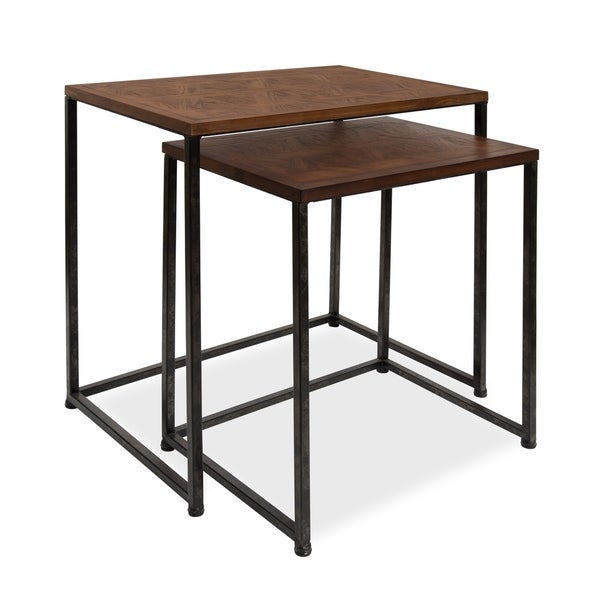 Kate and Laurel Solis 2-Piece Wood/Metal Nesting Side Tables