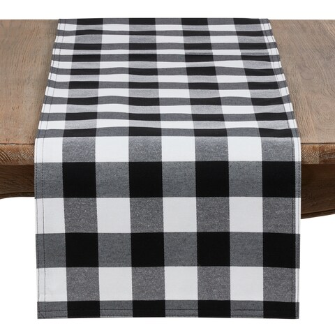 Black And White Buffalo Plaid Cotton Blend Table Runner
