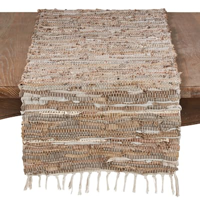 Leather And Cotton Blend Table Runner With Chindi Design