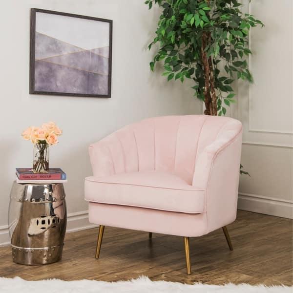 Shop Abbyson Channel Tufted Velvet Accent Chair, Blush Pink ...