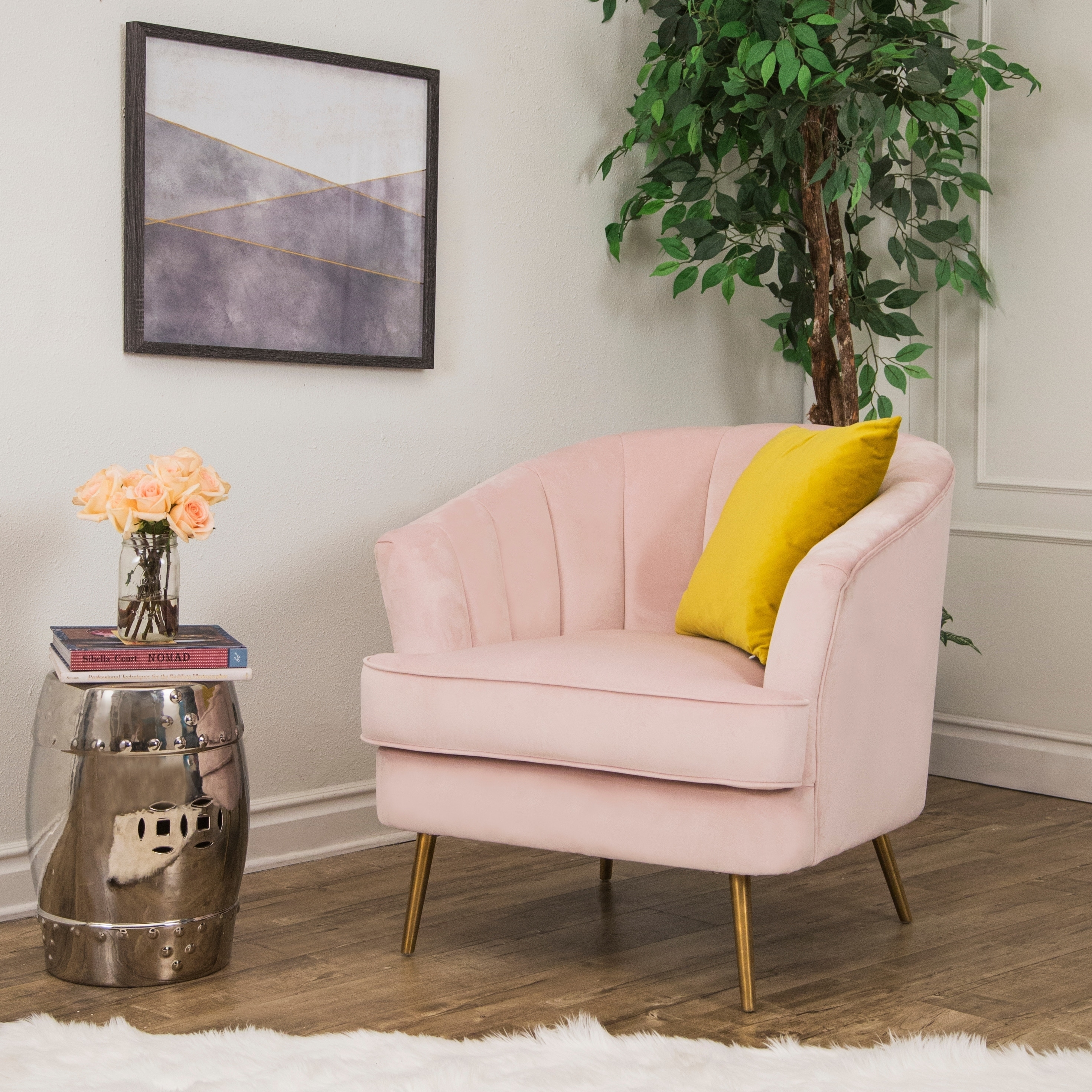 Abbyson Channel Tufted Velvet Accent Chair, Blush Pink - Overstock - 22848843
