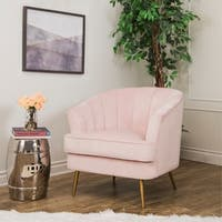 Abbyson Channel Tufted Velvet Accent Chair, Blush Pink