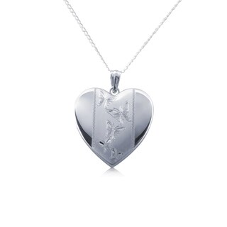 Sterling Silver Butterfly Heart Charm
