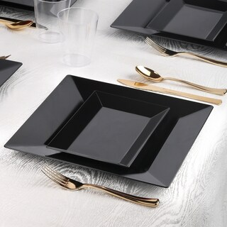 Kaya Collection - Square Rectangle Black Disposable Plastic Dinnerware Party Package - 20 Person Package